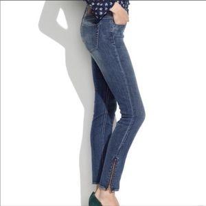 Madewell skinny skinny ankle zip jeans pool wash